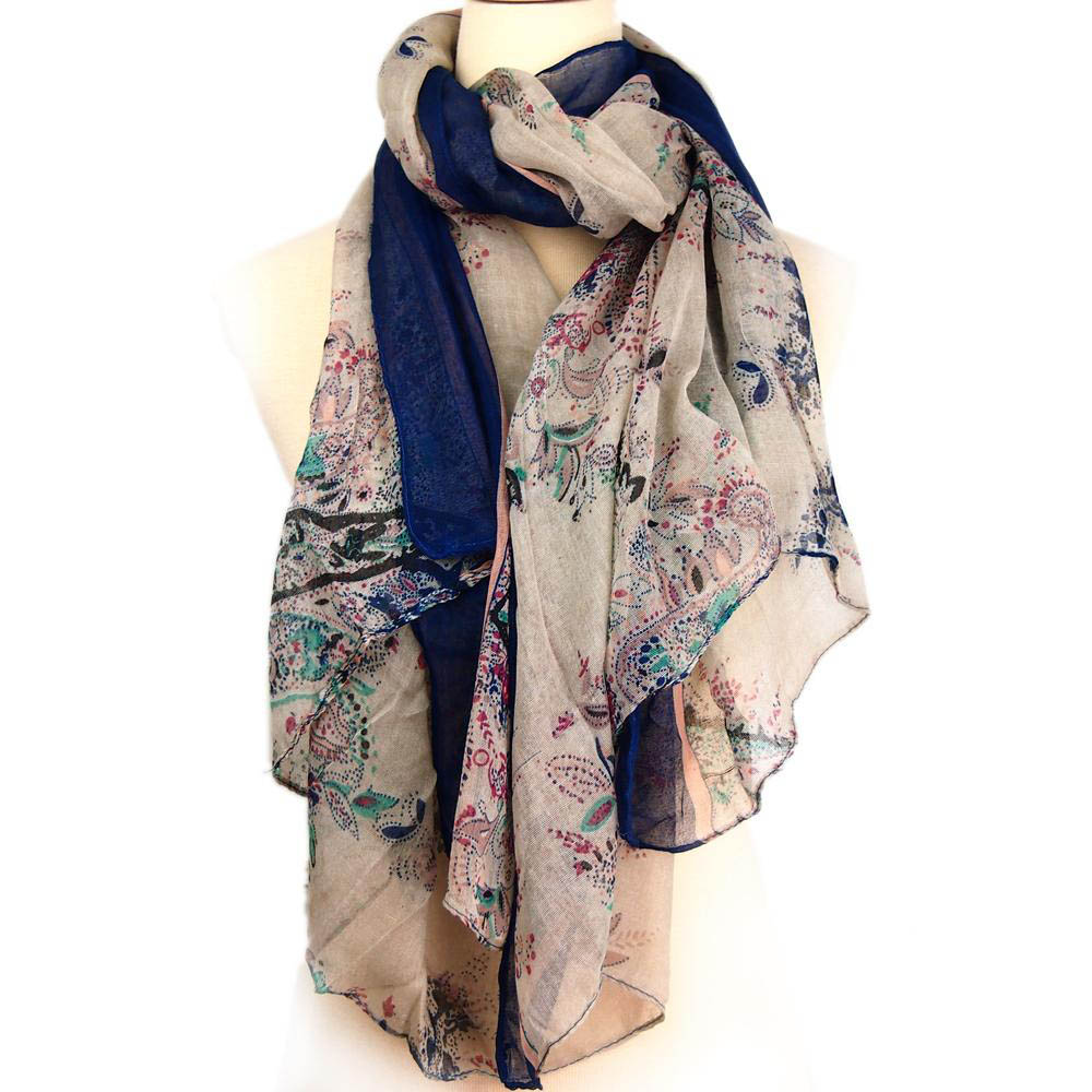 Winter Scarf Women Cotton Linen Voile Floral Pattern Thin ...