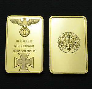 German Imperial Eagle With Cross Gold Bar 5 Pcs One Ounce