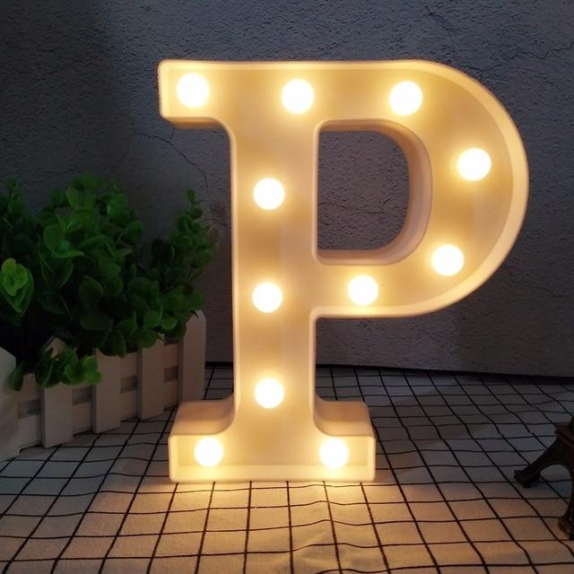 26 Alphabets LED Night Light 3D Plastic Letter Novelty Lamp Marquee