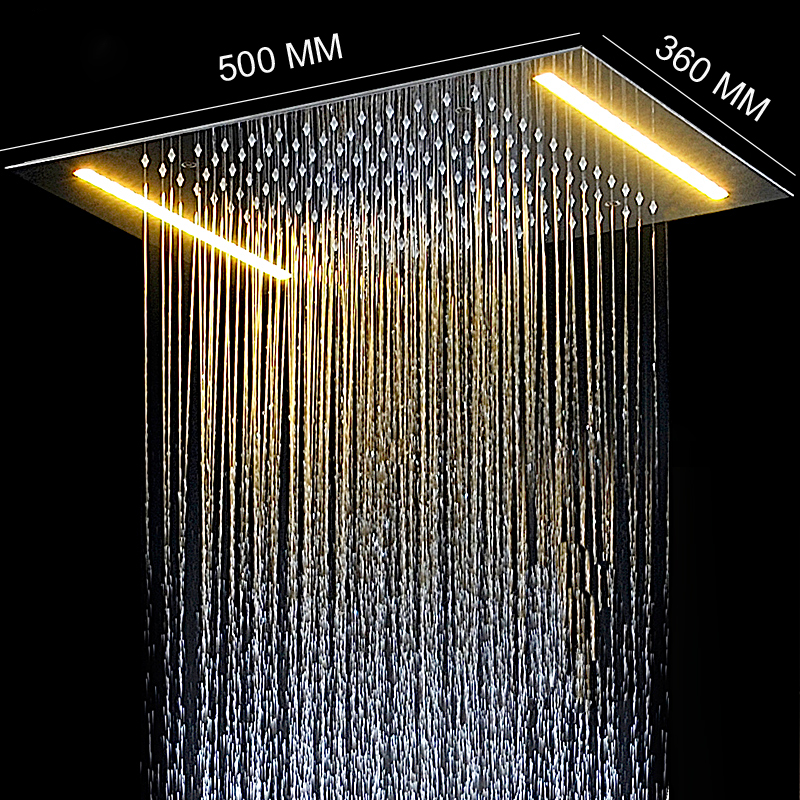Electric LED Ceiling Recessed Rainfall Shower Head 304SUS 36*50cm Bathroom Accessories Douche Overhead Shower Panel new design bath electric led ceiling recessed rainfall shower head 304sus bathroom accessories douche overhead shower panel