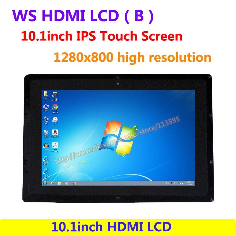 WS 10.1 pouces HDMI LCD (B) (avec étui) IPS lecteur d'écran tactile démo 1280x800 haute résolution prend en charge tous les Raspberry PI & multi-mini-pc