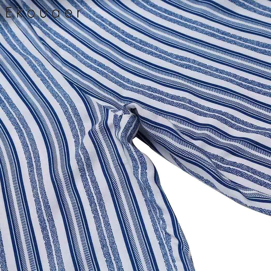 Ekouaer Sleepwear Women Drawstring Waist Striped Casual Loose Pajama Pants Plus Size 3