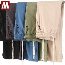 Straight Trousers Joggers Sweatpants Casual-Pants Linen Plus-Size Men Men's Cotton Solid