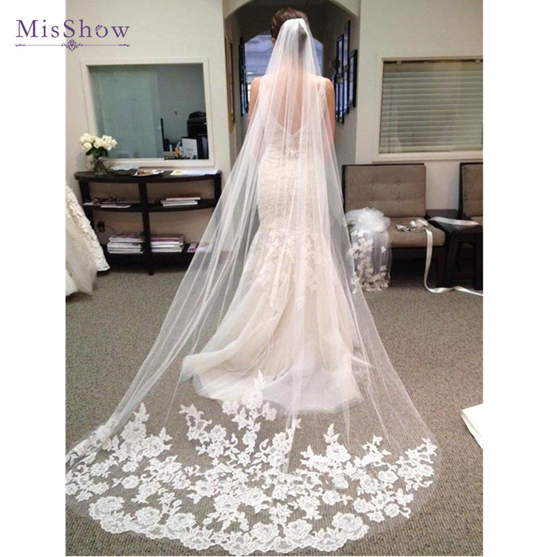 Wedding Accessories  Appliques Tulle Long Cathedral Wedding Veil Lace Edge Bridal Veil With Comb Veu De Noiva Longo