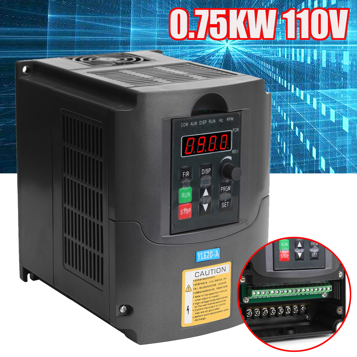 0.75KW 110V AC Variable Frequency Inverter Converter 3 Phase Output Built-in PLC Single Phase Space Voltage Vector Modulation 110v 2 2kw ac variable frequency inverter converter 3 phase output single phase input space voltage vector modulation