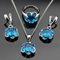 Christmas Gift Flower Blue Created Topaz Silver Color Jewelry Sets For Women Pendant/Necklace/Earrings/Rings Free Jewelry Box