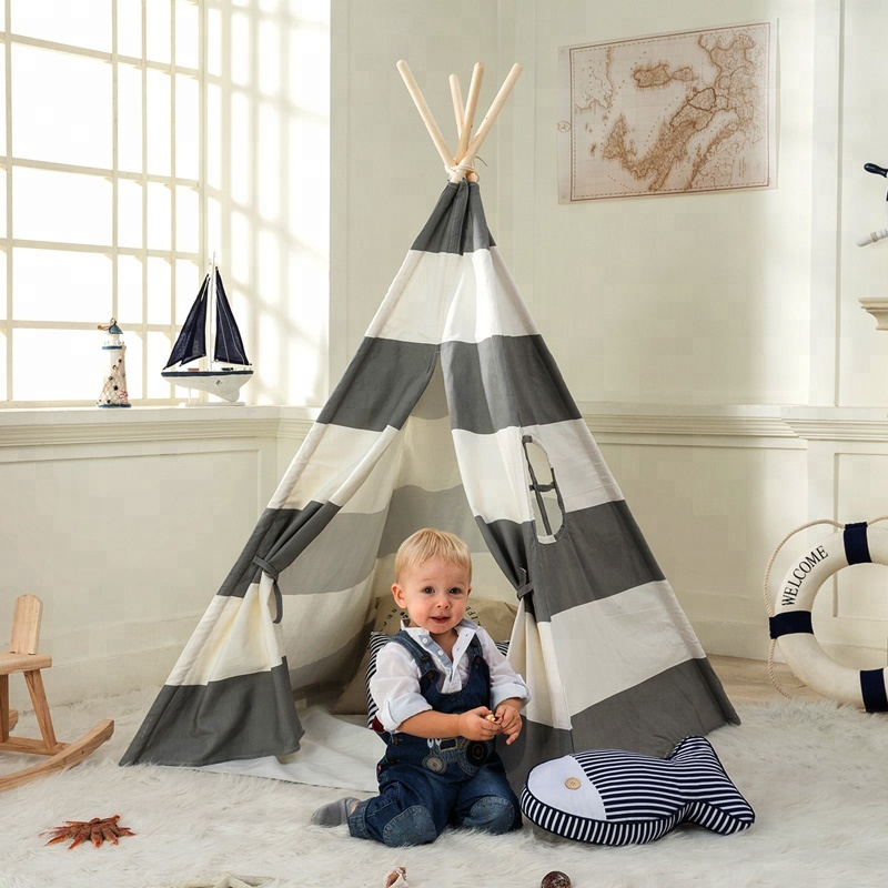 Grey Stripe Kids Play Teepee Indian Tent Childrens Tipi Tent Kids Wigwan tipi tent for kids childrens tipi wigwam tent page 8