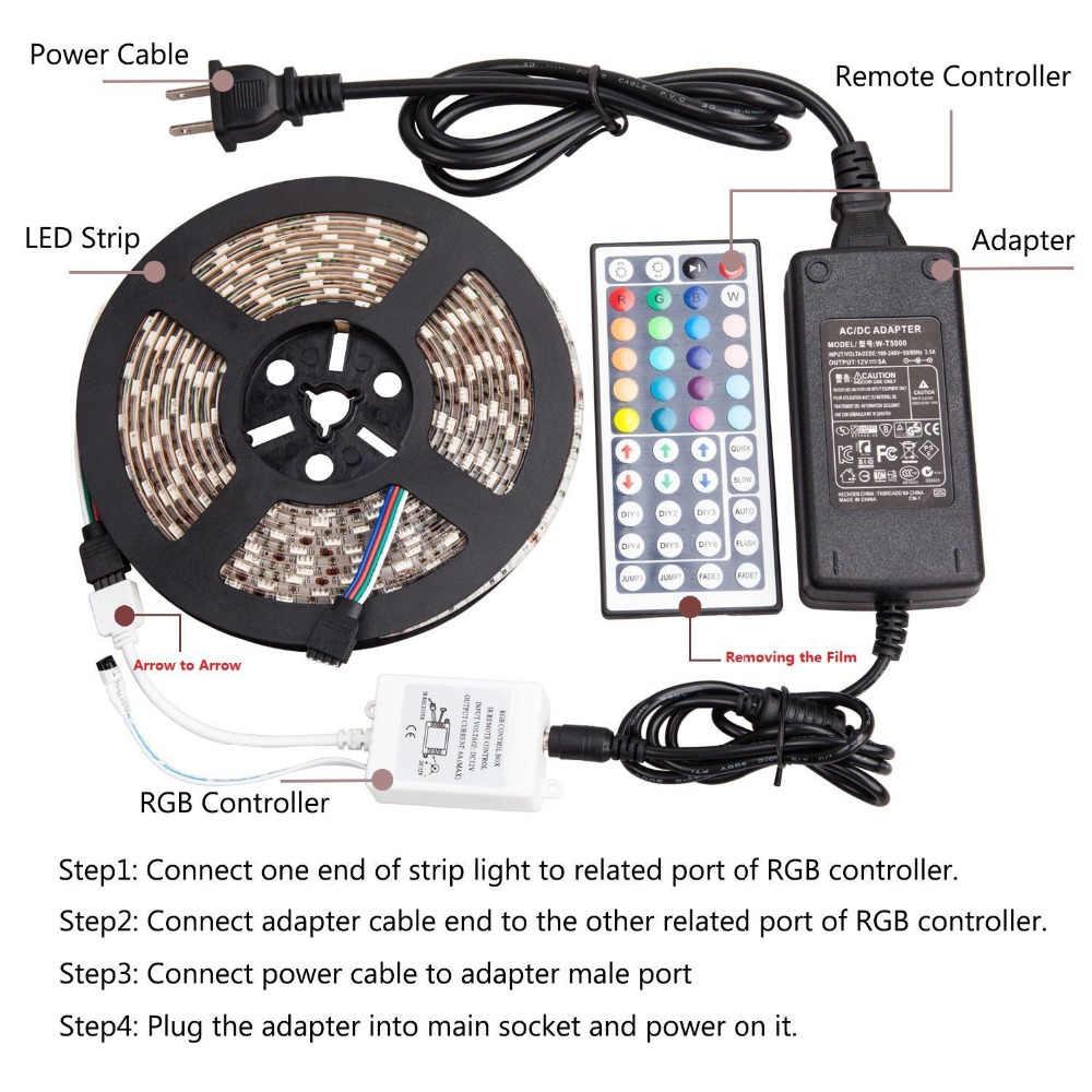 Led 5050 Strip Lampu Kit DC12V 5A Power Supply Tahan Air SMD 5050 16.4 Ft (5 M) 300 leds RGB 60 leds/m dengan 44key Ir Remote Con
