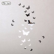 25 pcs Hot Sale 3D Wall Stickers Mirror Butterfly Home Decor Wall Acrylic Wall Stickers Room DIY Decor(China)
