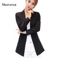 Women Long Sleeve Single Button Blazers Outwear 2017 Elegant Ol Style Pink Female Blazers Black Suit