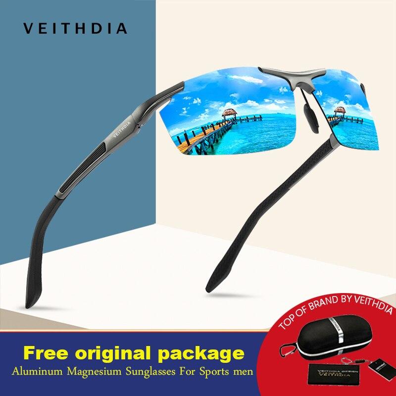 dacf1633e VEITHDIA New Design Homens de Alumínio E Magnésio Óculos Polarizados  Revestimento de Espelho Óculos de Sol Masculino Óculos sem aro Semi  Acessórios