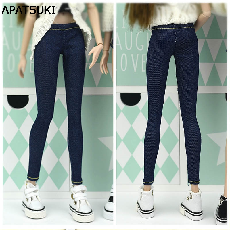 Elastic Jeans Bottoms Trousers Long Pants For Barbie Doll Clothes Fashion Outfit Shorts For Blythe 1/6 BJD Dolls Accessories women fashion skinny denim pants high waist jeans pencil pants sexy slim elastic denim pant trousers lady black jeans 2017