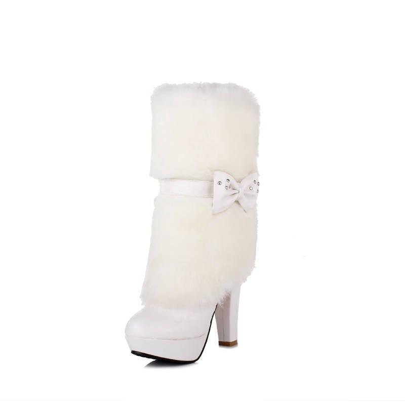 Talons Mi Sexy Nouvelle Rond Plate blanc 2018 apricot Chaud Hauts Bowknot Chaussures Noir forme D'hiver mollet Arrivée Bottes Femmes Memunia Bout Femme 6Ztw5qx58