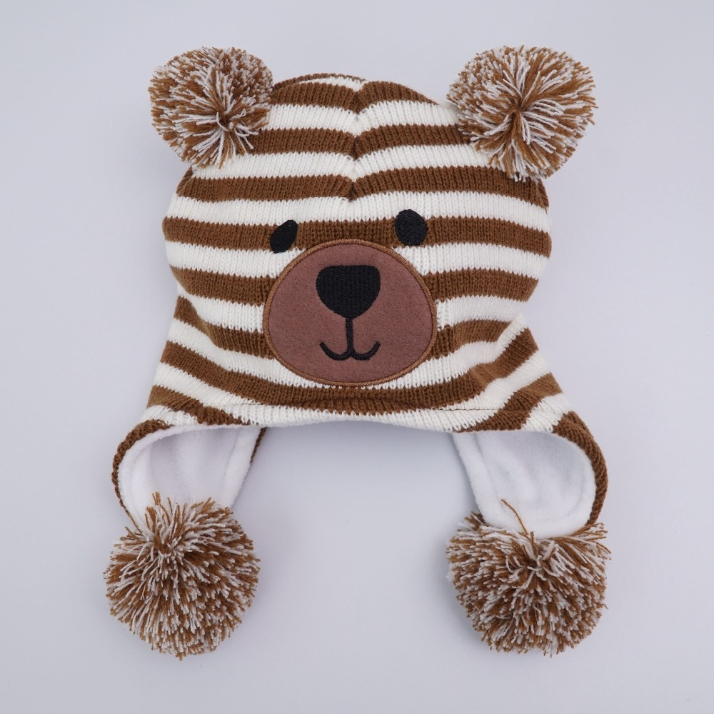 New style Knitted Kids Winter Baby Hats cartoon bear Thick Warm Children Hats For Girls/Boys Cap Baby doubchow adults womens mens teenages kids boys girls cartoon animal hats cute brown bear plush winter warm cap with paws gloves page 7