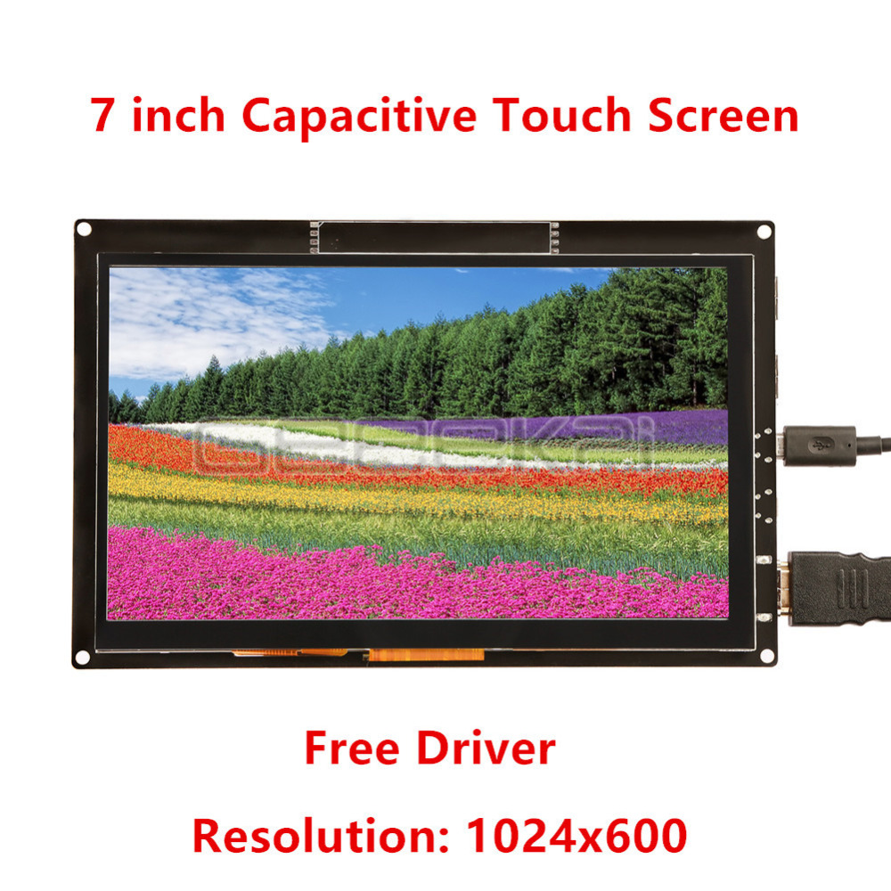 GeeekPi 7 inch 1024*600 Capacitive Touch Screen Monitor Display Free Driver for Raspberry Pi 4 B All Platform,PC,BeagleBoneBlack image
