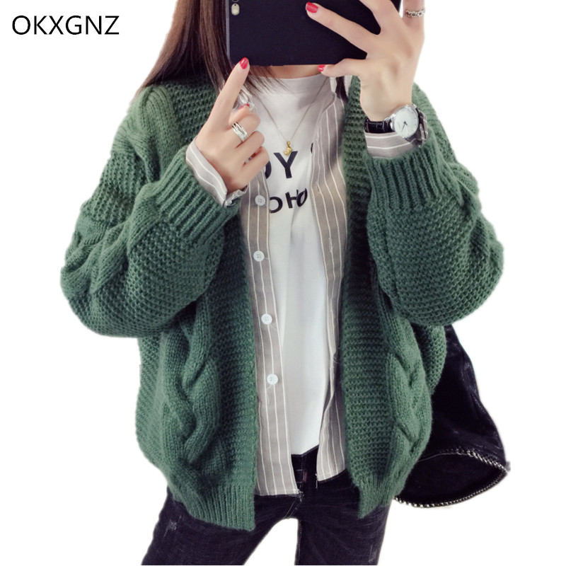 OKXGNZ Short Knitted Cardigan Sweater Female 2017 Spring Autumn Costume Loose Sweater Coat Casual Tops font
