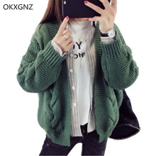OKXGNZ Short Knitted Cardigan Sweater Female 2017 Spring/Autumn Costume Loose Sweater Coat Casual Tops Women Basic Coats AH208