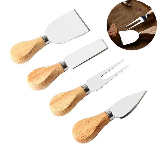 4 pcs Fatiador De Queijo do Aço Inoxidável Conjunto de faca do Queijo de Manteiga Manteiga Placa de Bolo Cortador Ferramenta de Corte Conjunto De Faca com cabo de Madeira lidar com
