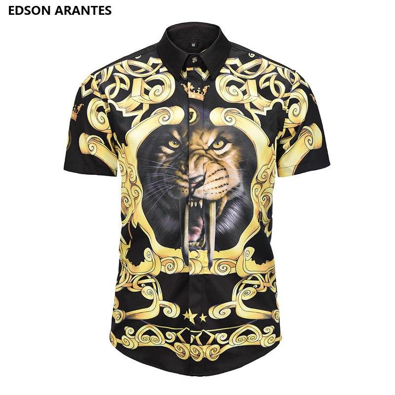 e0367aa23 EDSON ARANTES Summer Shirts Men Korean Shirt Short Sleeve Men's Tiger  Prints Button Down Casual Slim Fit Aloha Hawaiian Shirt