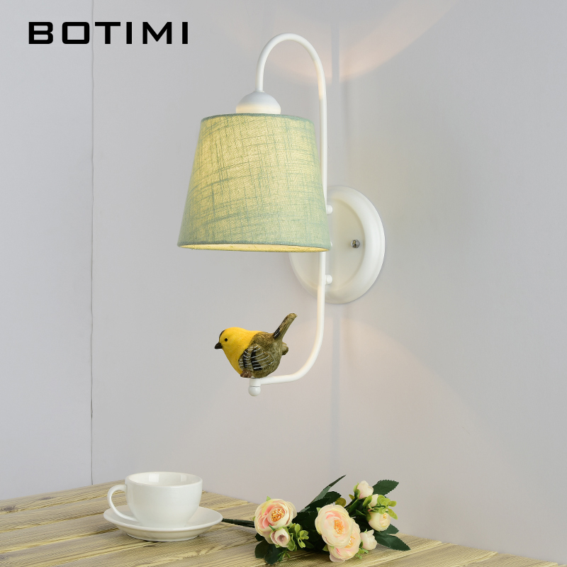 BOTIMI Fabric Lampshade Wall Lamp With Bird Modern Cloth Shade Wall Mounted Bedside Light Iron Wall Sconce Room Lights willlustr fabric wall lamp beige cloth light europe bronze lighting fixture bedside claridge double sconce with linen shade