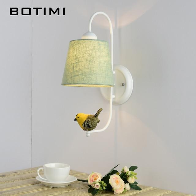 Тканевый абажур BOTIMI, настенный светильник с птичьим современным тканевым абажуром, настенный прикроватный светильник, железное настенное бра, светильник для комнаты s