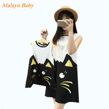 Malayu Baby Brand 2016 Europe and the United States the new fashion cute cartoon cat printing vest mother and daughter dress