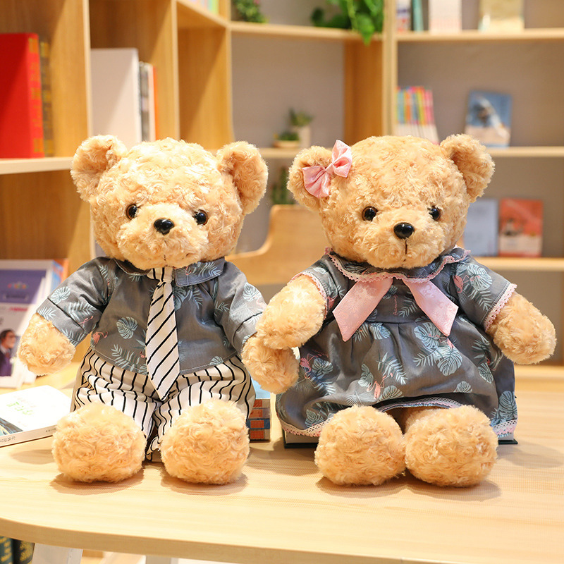 1pc 45cmLovely Couple Teddy Bear With Clothes Plush Toys Dolls Stuffed Toy Kids Children Girl Birthday Christmas Wedding Gift in Stuffed Plush Animals from Toys Hobbies