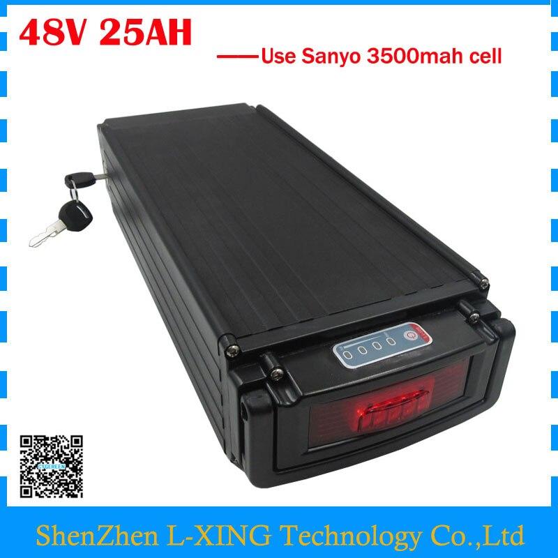 48 V electric bike battery 48v 25ah li-ion battery 48V 24.5AH rear rack battery with tail light use Sanyo 3500mah cell 30A BMS цена 2016