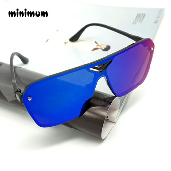 MINIMUN Conjoined Sunglasses Women Dazzle Color Reflector Sports Glasses Fashion Vintage Frameless Men Sunglasses UV400