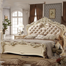 modern european solid wood bed Fashion Carved  leather  french bedroom furniture pfy10145 furniture bedroom double box solid wood simple bed