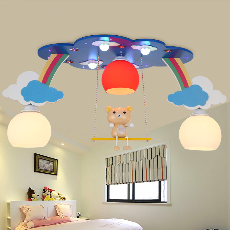 Led Creative Rainbow Cloud Ceiling Lights Baby Kids Boy Girl Children Bedroom Flush Mount Lamp Absorb