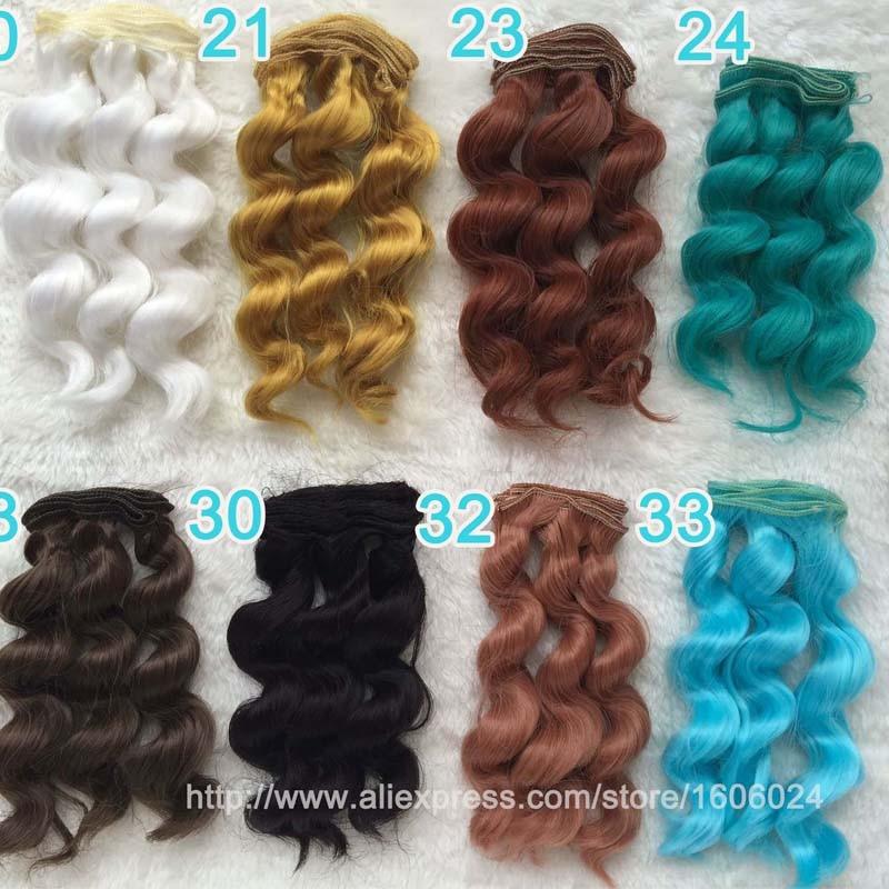 20pcs / lot gros 1/3 poupée bjd haute température fil synthétique ondulé perruque cheveux poupée