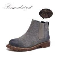 BIMUDUIYU Brand High Quality Women Boots Fashion Suede Leather Plush Fur Warm Winter Ankle Boots Slip