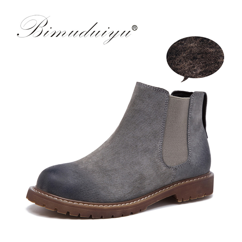 Bimuduiyu ماركة عالية الجودة المرأة الأحذية أزياء جلد الغزال أفخم الفراء شتاء دافئ أحذية الانزلاق على أحذية الكاحل امرأة زائد حجم