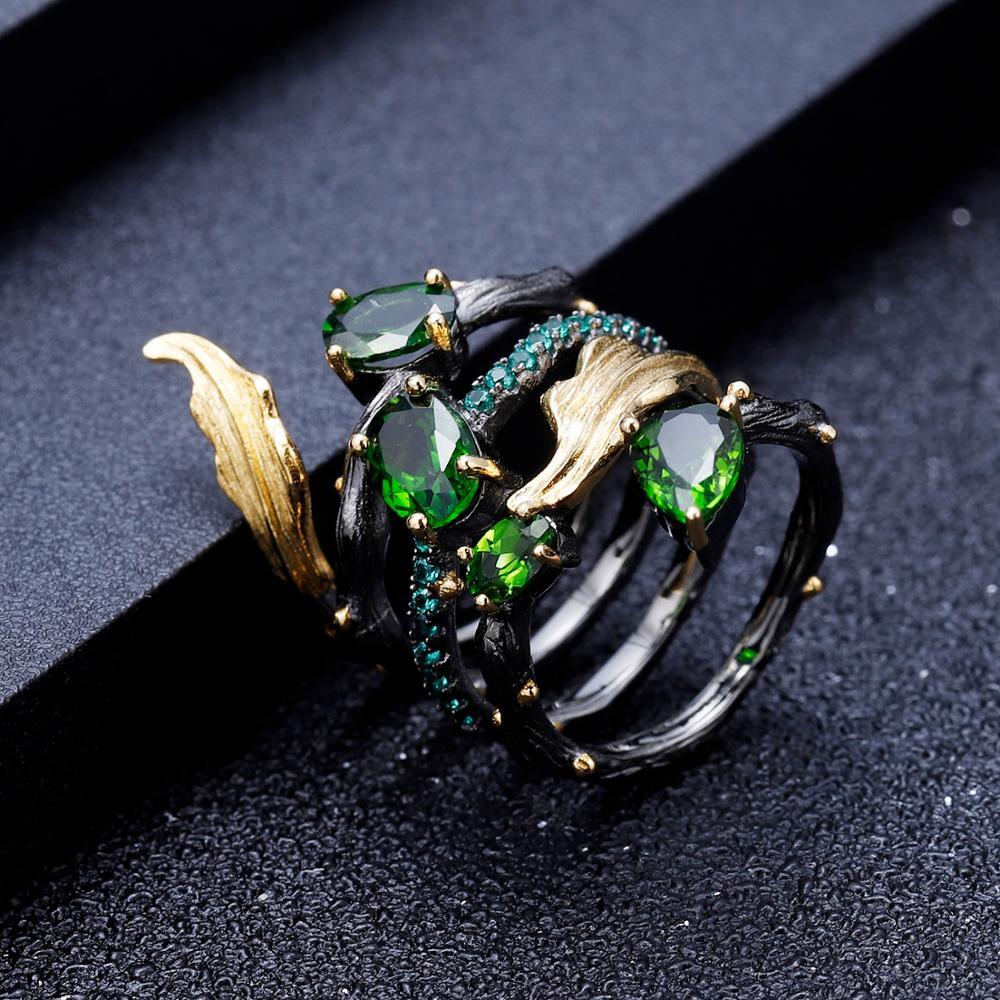 Image 4 - GEMS BALLET 2.57Ct Natural Chrome Diopside Gemstone Finger Ring  925 Sterling Sliver Leaf Band Rings For Women Fine JewelryRings   -