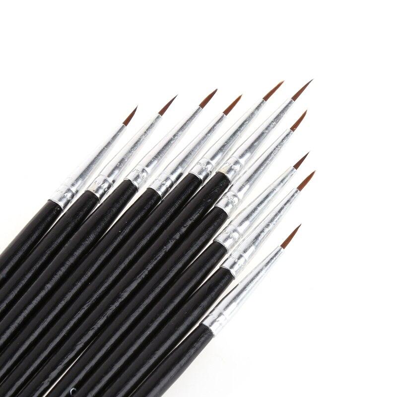 10pcs/set Nylon Hair Brush Hook Line Pen Artist Watercolor Acrylic Painting Oil Painting Brush Set Art