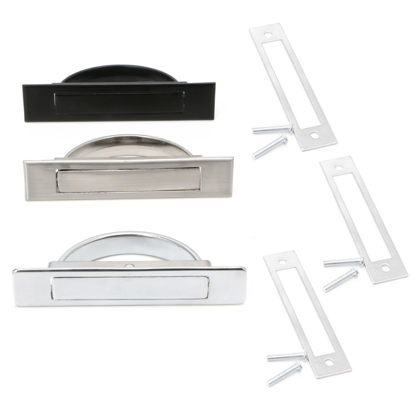 Hidden Door Handle Zinc Alloy Recessed Flush Pull Cover Floor Cabinet Furniture L15