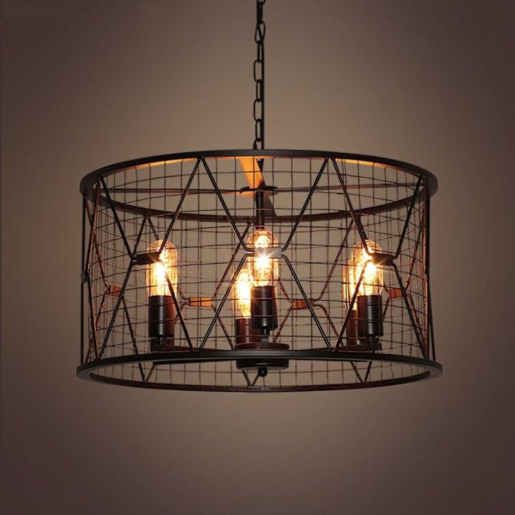 Suspension moderne noire en forme de cage à oiseaux en fer minimaliste rétro lumière scandinave loft pyramide lampe cage en métal avec ampoule led