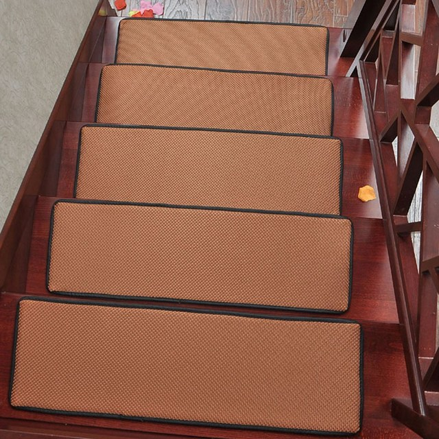Top Selling Rectangle Stair Carpet Non Slip Stair Tread Mats Breathable  Solid Color Rugs For
