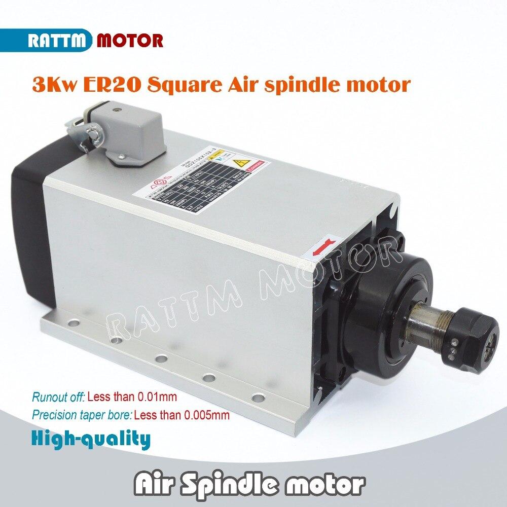 DE Доставка! Квадратный 3kw доставленных с воздушным охлаждением мотор шпинделя ER20 биение-off 0,01 мм, 4 Керамика подшипник, гравировка фрезерный ...