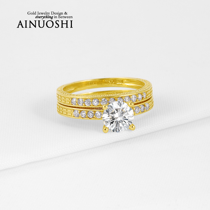 Hot Selling 1 Carat Wedding Band Round Cut Sona Simulated Diamond Ring Sets 10K Solid Yellow Gold Bague for Women Engagement