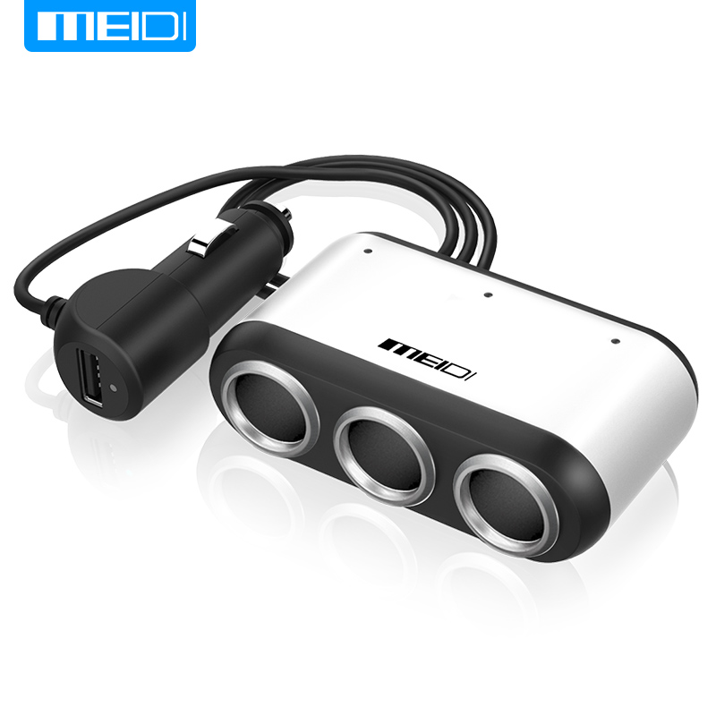 MEIDI Car Cigarette Lighter Socket Splitter With Switch USB Car Charger Power Adapter 12V-24V For iPad Smartphone GPS