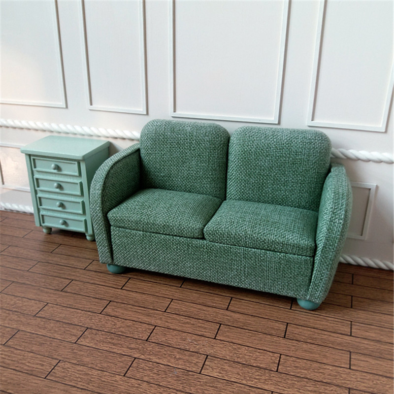1/6 Miniature Sofa For Dolls Dollhouse Furniture Toy Lovely Green Double Sofa Toys Children Gifts Handmade Home Deco Customized