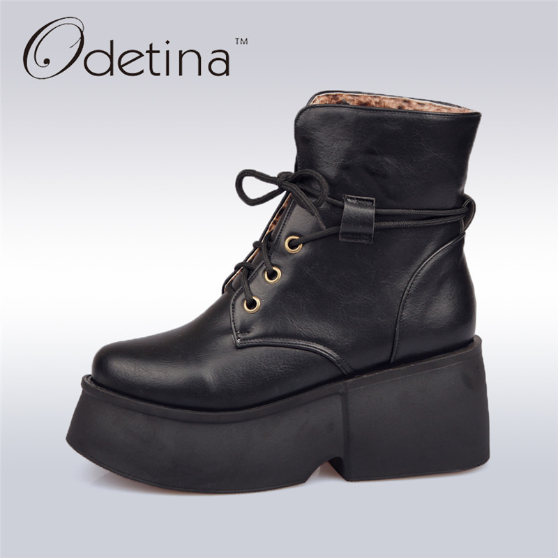Odetina 2017 Fashion Women Thick Sole Boots Platform Wedge Ankle Boots Lace Up Casual Booties Height Increased High Top Shoes women fashion lace up platform ankle