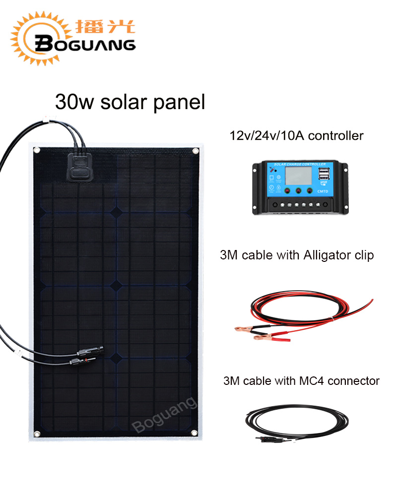 Boguang 30w solar panel cell ETFE Monocrystalline module 12v/24v/10A controller cable battery LED light RV yacht power charger цена и фото