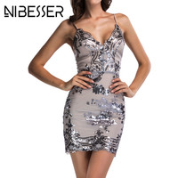 NIBESSER Womens Gold Sequins Bodycon Dress 2018 Sexy V Neck Backless Women Sundress Luxury Party Club