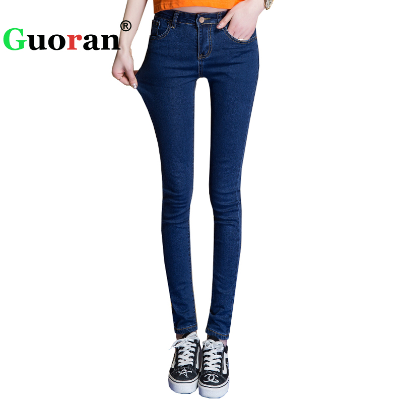 {Guoran} Women Jeans Pencil Pants 2017 Female Slim Stretch Denim Jeans Leggings Plus Size 26-32 Ladies Trousers Femme Pantalon rosicil new women jeans low waist stretch ankle length slim pencil pants fashion female jeans plus size jeans femme 2017 tsl049