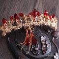 Envío gratis rhinestone rojo corona de la novia pendientes de colores brillantes y hermosas cilíndrica Rojo pelo de La Boda Joyería Al Por Mayor