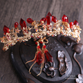 free shipping red rhinestone bride crown earrings bright coloured and beautiful cylindrical Red Wedding hair Jewelry Wholesale