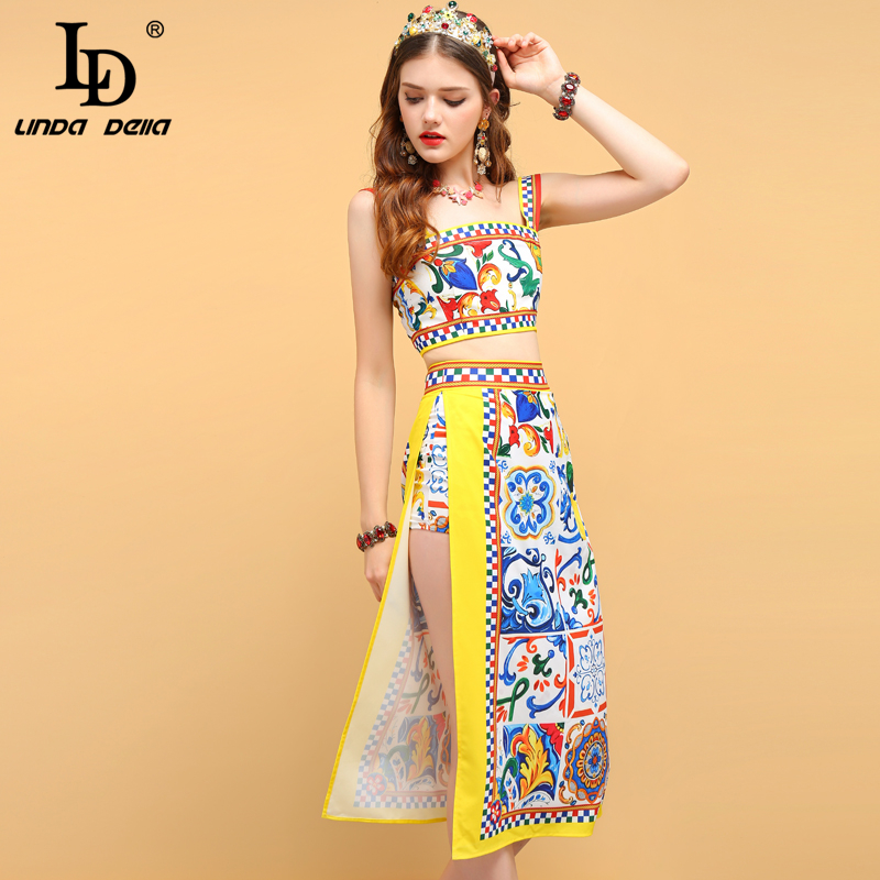LD LINDA DELLA Summer Women's Sets Suits Spaghetti Strap Printed Tops And Casual Holiday Party Side Slit Skirt 2 Two Pieces Set
